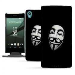 Etui cuir Telephone portable Sony Xperia Z5 design Anonymous - Housse Flip Cover
